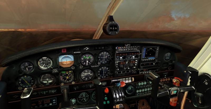 Cabina Piper PA-28RT-201T Turbo Arrow 4 de Carenado para FS2004, volando de Santarder (LEXJ) a Vigo (LEVX) al atardecer