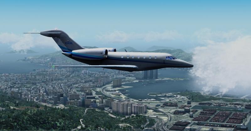 Sobrevolando Hong Kong, para final de la 25R. Cessna Citation X