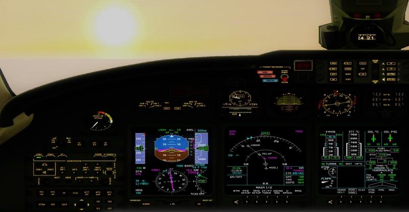 Cabina de la Cessna Citation X. Saliendo de Estocolmo, con el sol de medianoche.