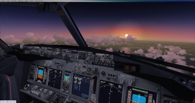 volando de lepa a lesa con un B738 y una  bonita puesta de sol